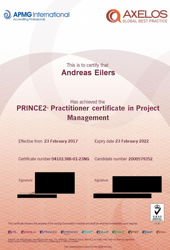 Zertifikat Prince2 - Andreas Eilers IT-Berater und Projektmanager