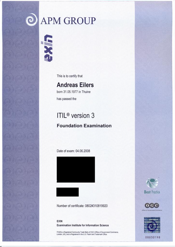 Zertifikat ITIL V3