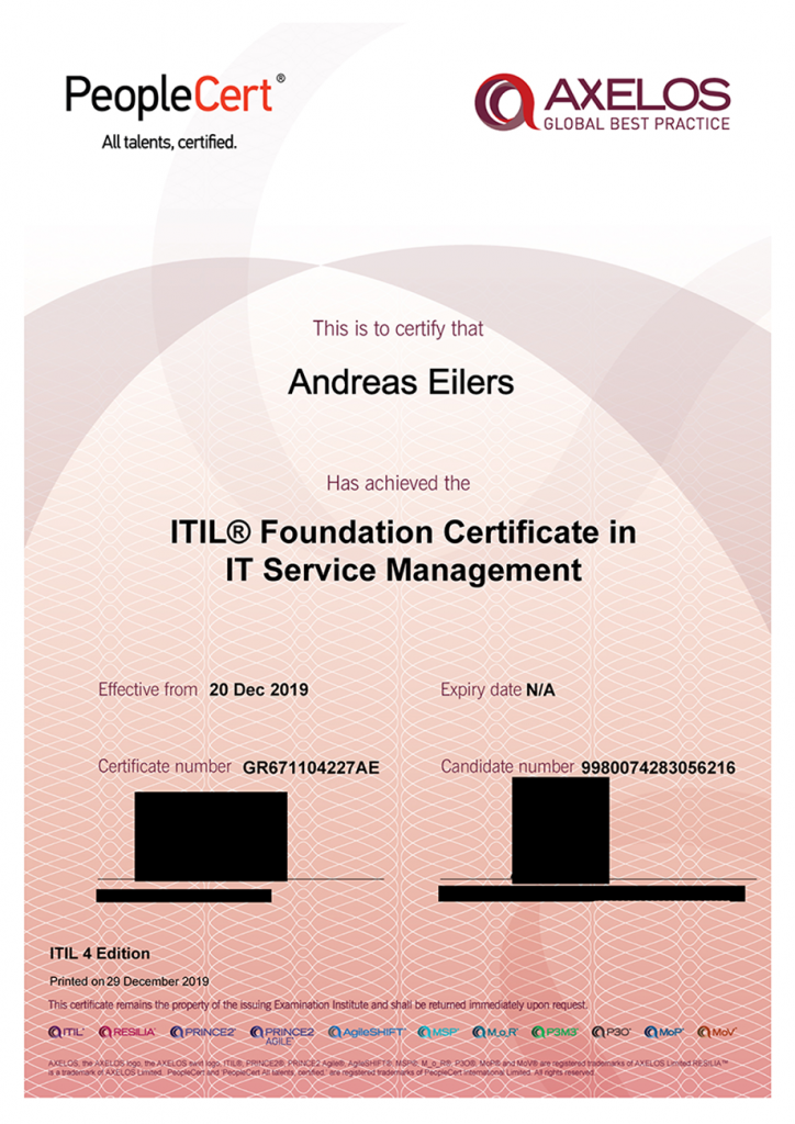 Zertifikat Andreas Eilers IT-Beratung und Projektmanagement