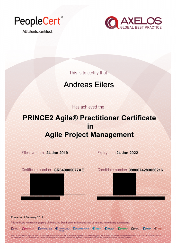 Zertifikat Prince2 Agile Practitioner Andreas Eilers