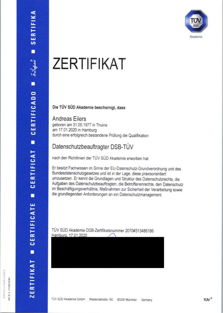 Zertifikat Andreas Eilers Datenschutzbeauftragter DSB-TÜV